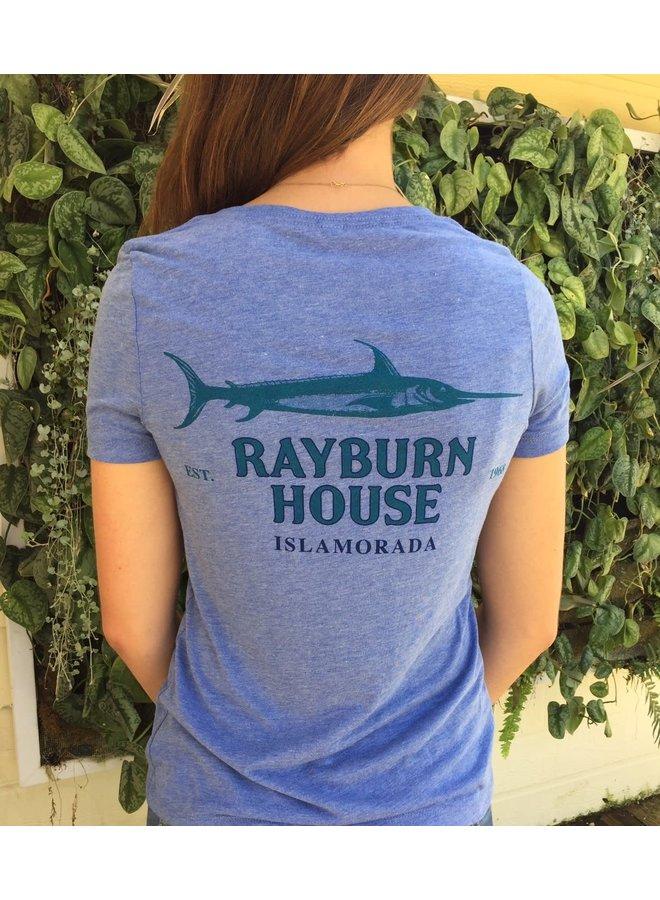 Rayburn House Ladies V Neck T Shirt - Blue Tri Blend