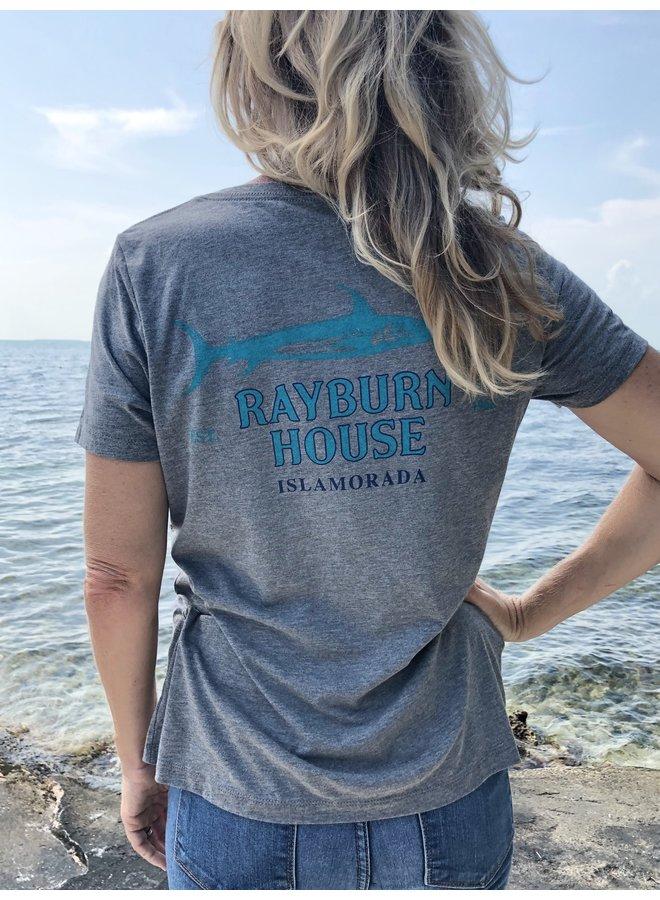 Rayburn House Ladies V Neck T Shirt - Dark Heather Grey