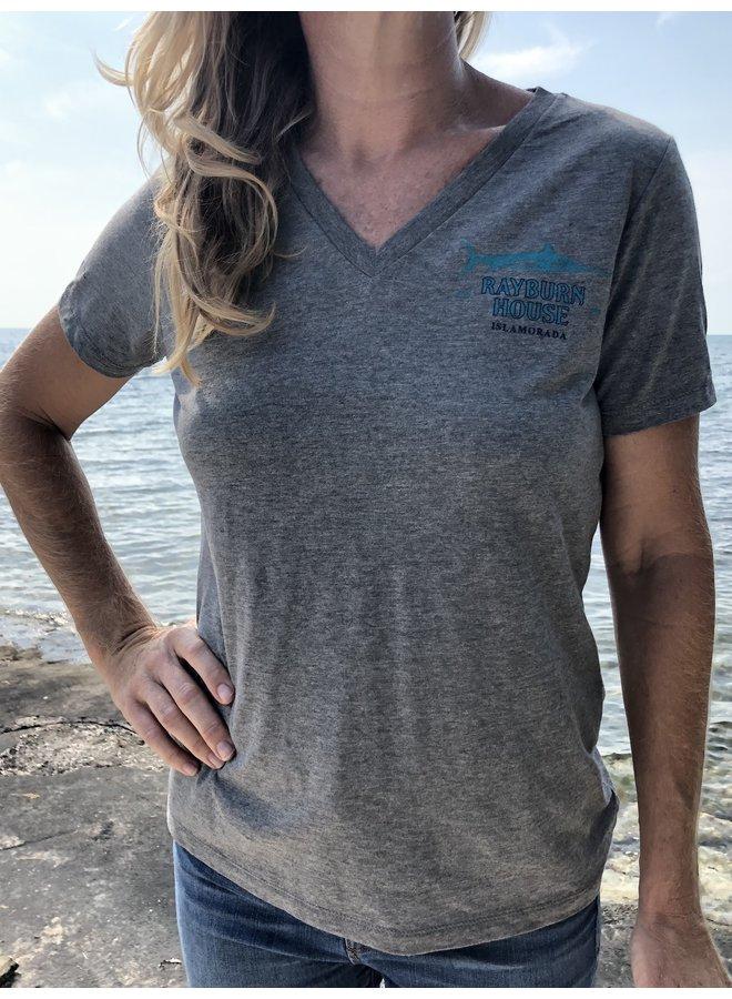 Rayburn House Ladies V Neck T Shirt - Heather Grey