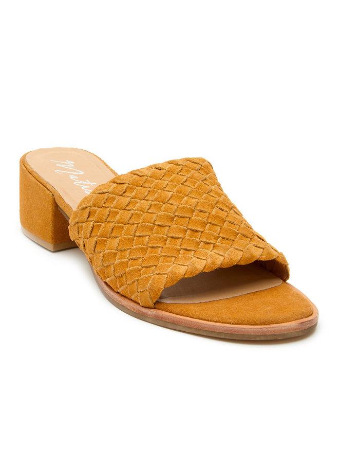 Mustard Yellow  Woven Slide Heeled Andi Sandal