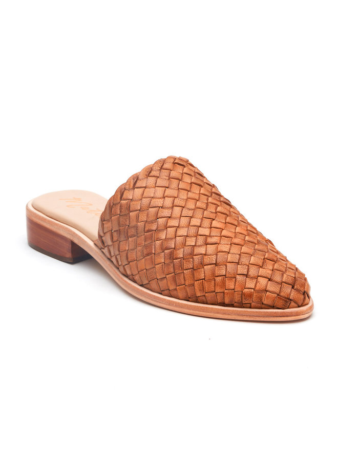 Brown Woven Slide Mules