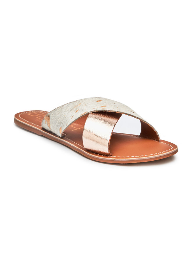 Spotted Cowhair Criss Cross Sandals