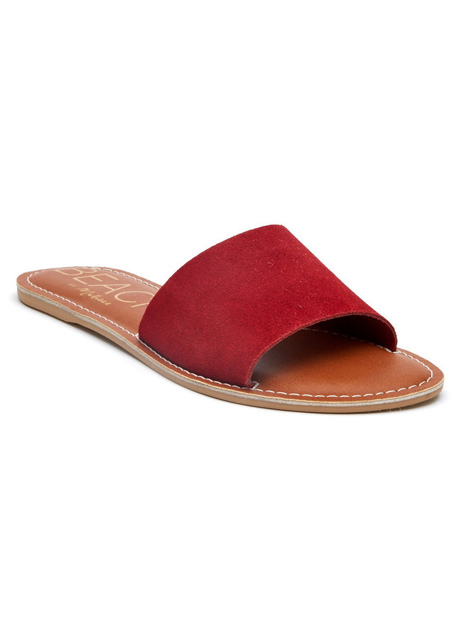 Red Suede Slide Sandals
