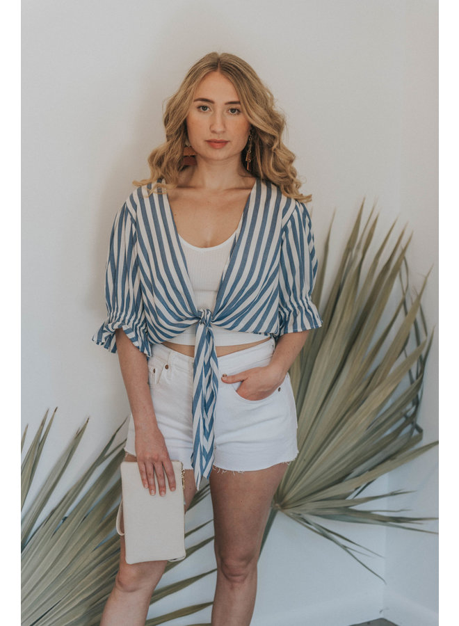 Blue And White Stripe Crop Top w/ Front Tie