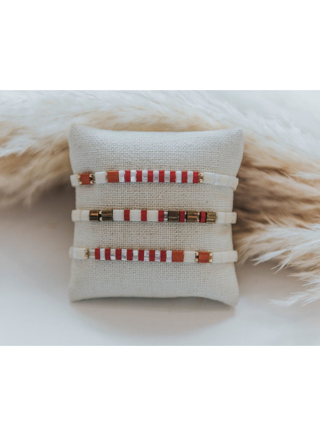 Stretchy Beaded Stripes Bracelet - Red, Cream, Gold
