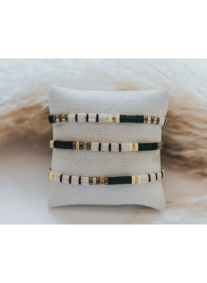 Stretchy Beaded Stripes Bracelet - Black, Cream, Gold, Yellow
