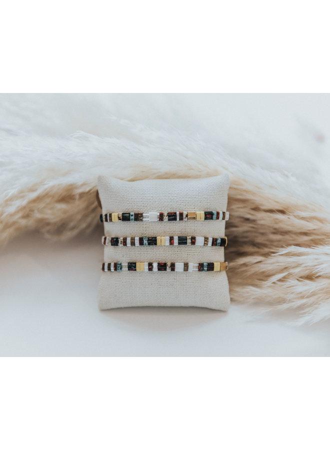 Stretchy Beaded Stripes Bracelet - Brown, Cream, Turq, Yellow
