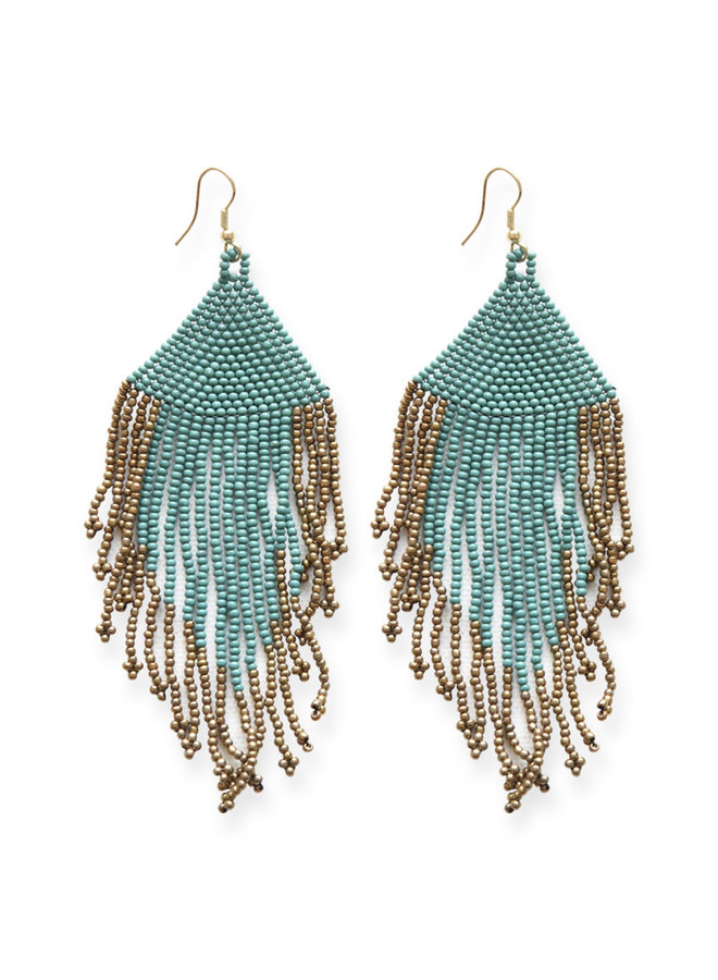 Teal and Gold Fringe Bead Earrings