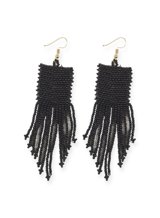 Black Petite Fringe Earrings