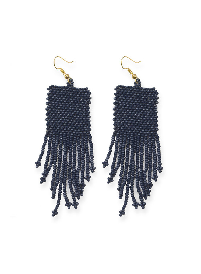 Navy Petite Fringe Earrings