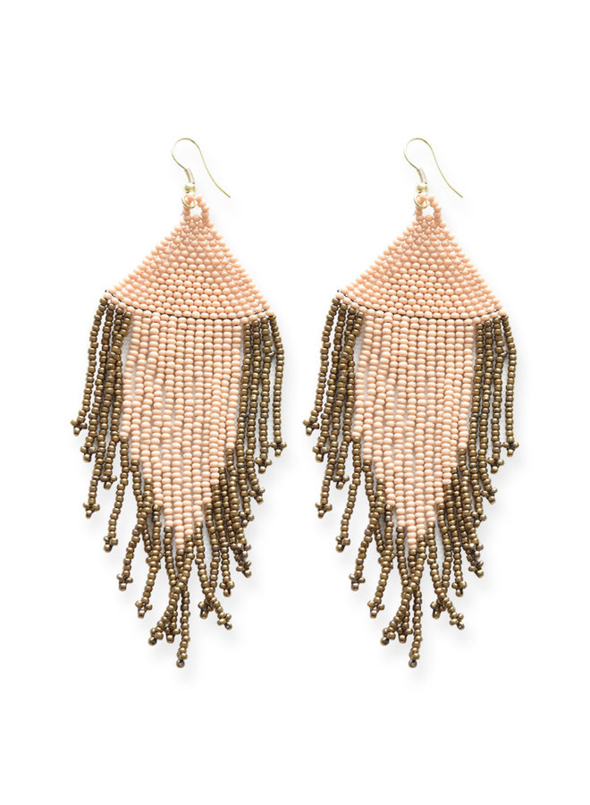 Blush and Gold Fringe Bead Earrings