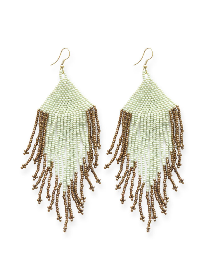 Mint and Gold Fringe Bead Earrings
