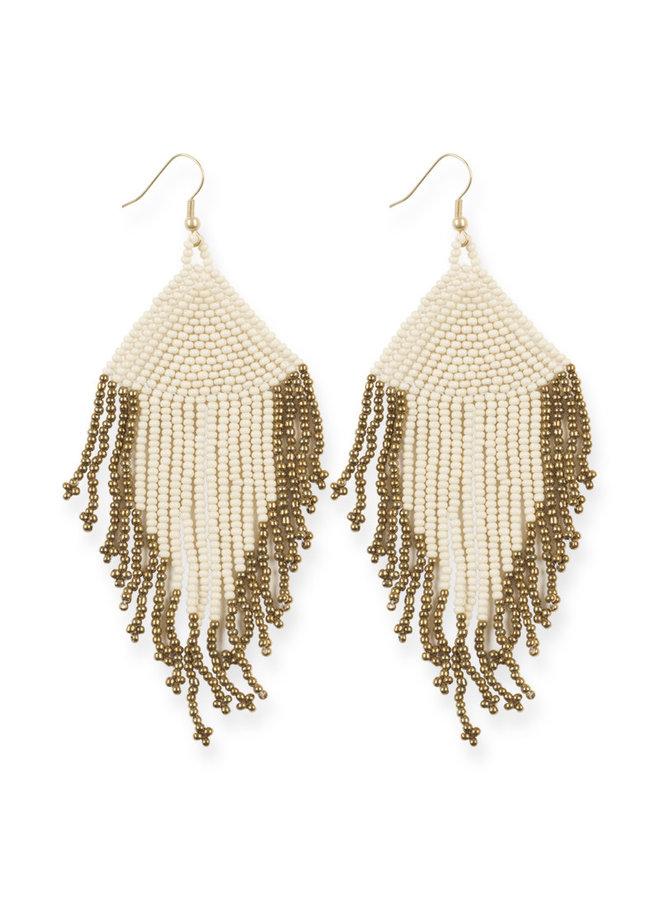 Ivory and Gold Fringe Bead Earrings