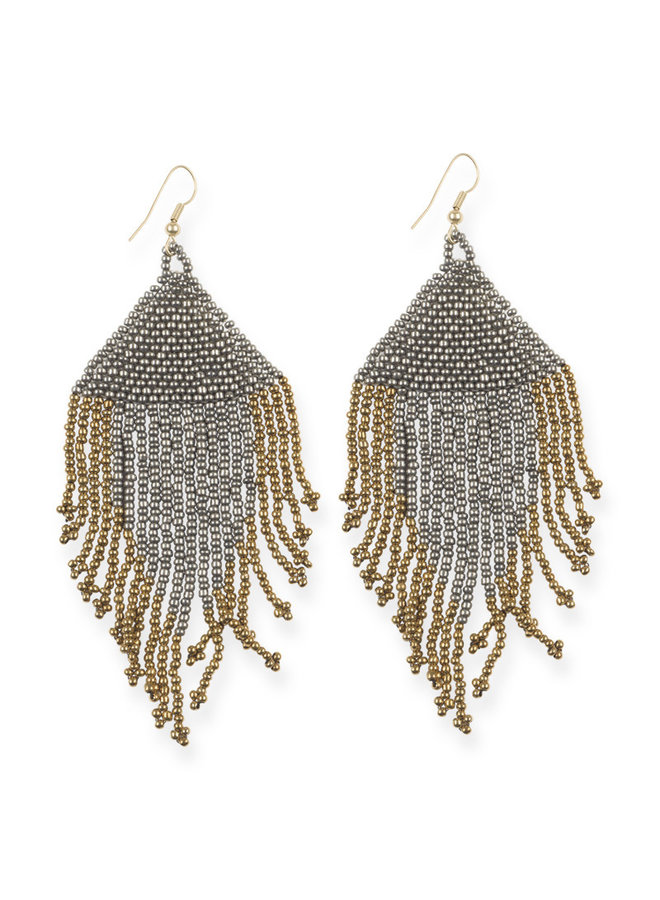 Gunmetal and Gold Fringe Bead Earrings