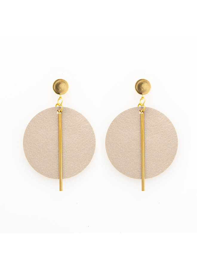 Leather Circle w/ Brass Stick Earrings Champagne