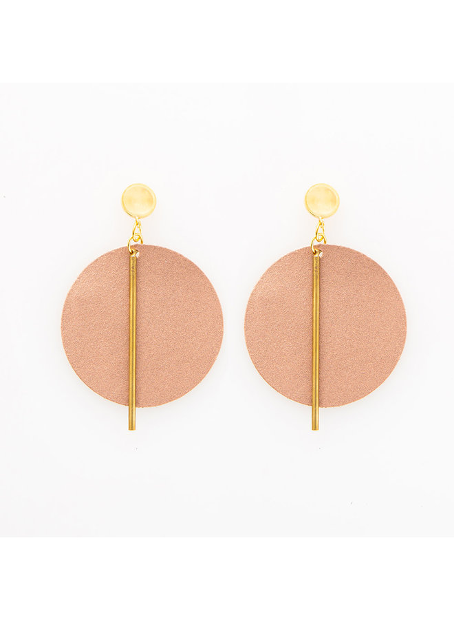 Leather Circle w/ Brass Stick Earrings Rose Gold