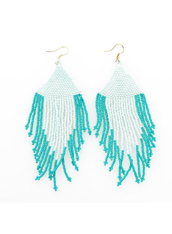 Light Blue & Turq Fringe Earrings