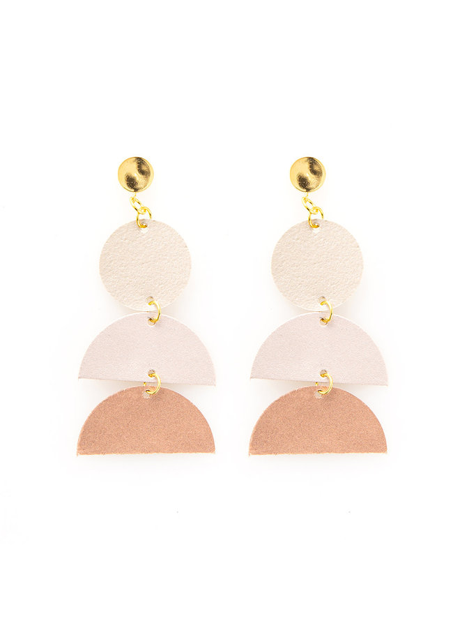 Leather Ombre Triple Drop Earrings Rose Gold