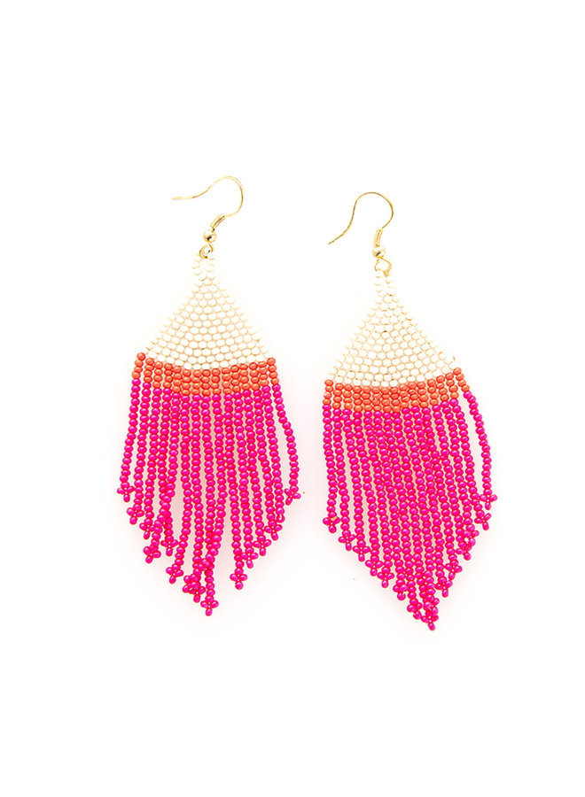 Colorblock Fringe Earrings - Short Hot Pink / Orange