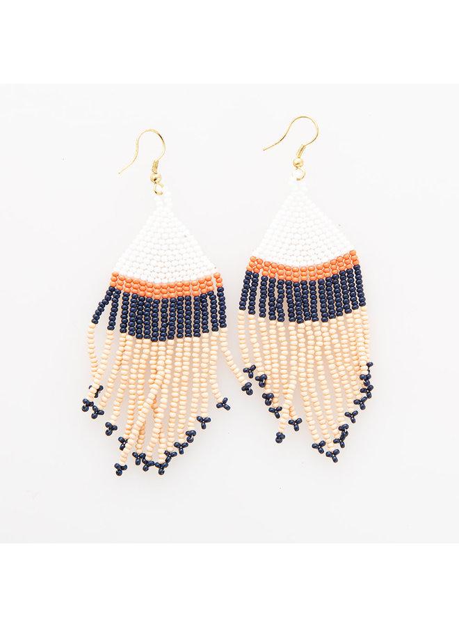 Colorblock Fringe Earrings - Short Peach/ Navy