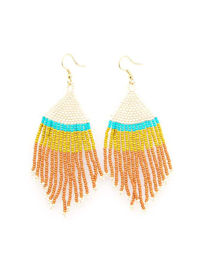 Colorblock Fringe Earrings - Short Rust/ Turq