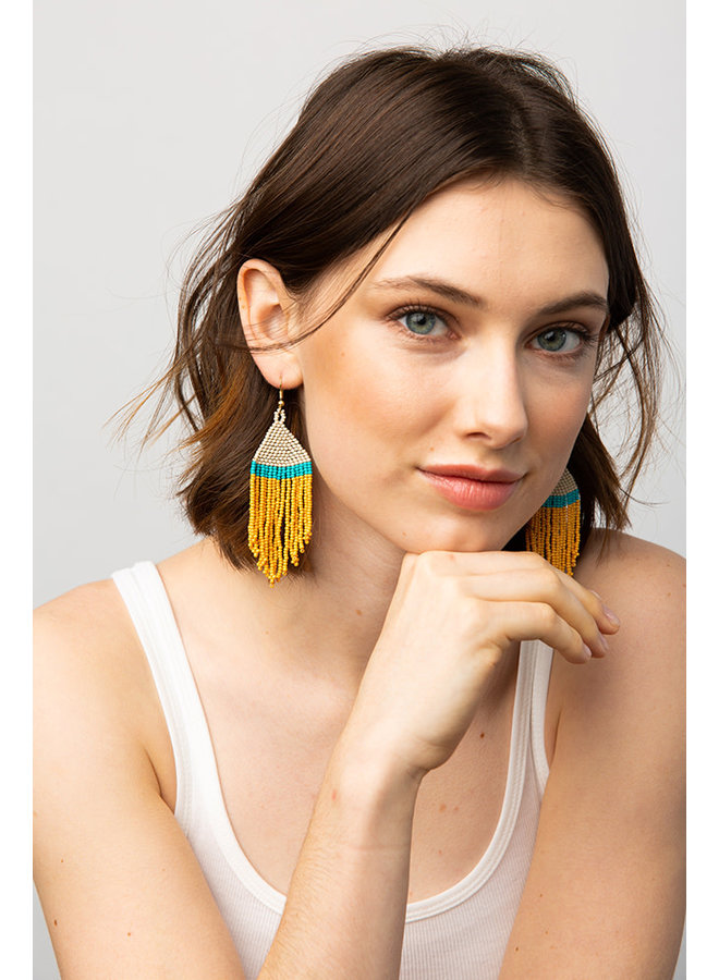 Colorblock Fringe Earrings - Short Yellow / Turq