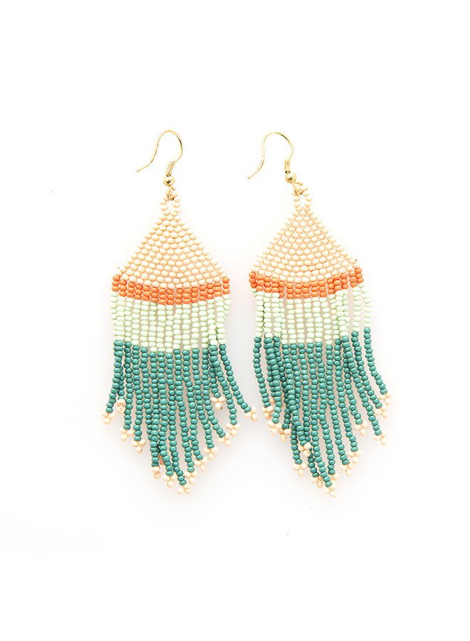 Colorblock Fringe Earrings - Short Teal/ Mint / Pink