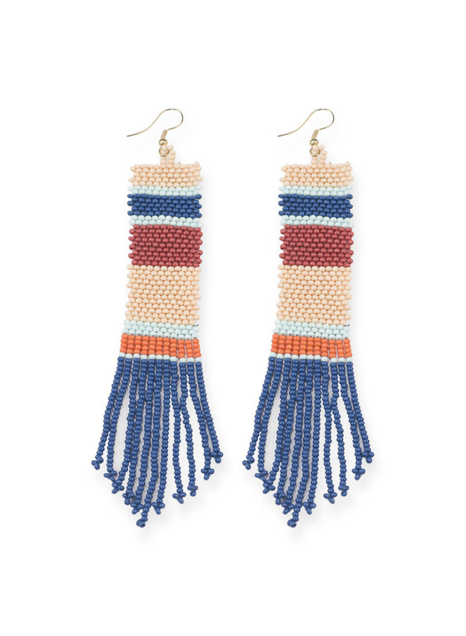 Striped Seed Bead Long Earrings - Blue, Peach