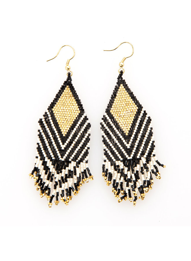 Black Ivory Stripe and Gold Diamond With Fringe Earrings