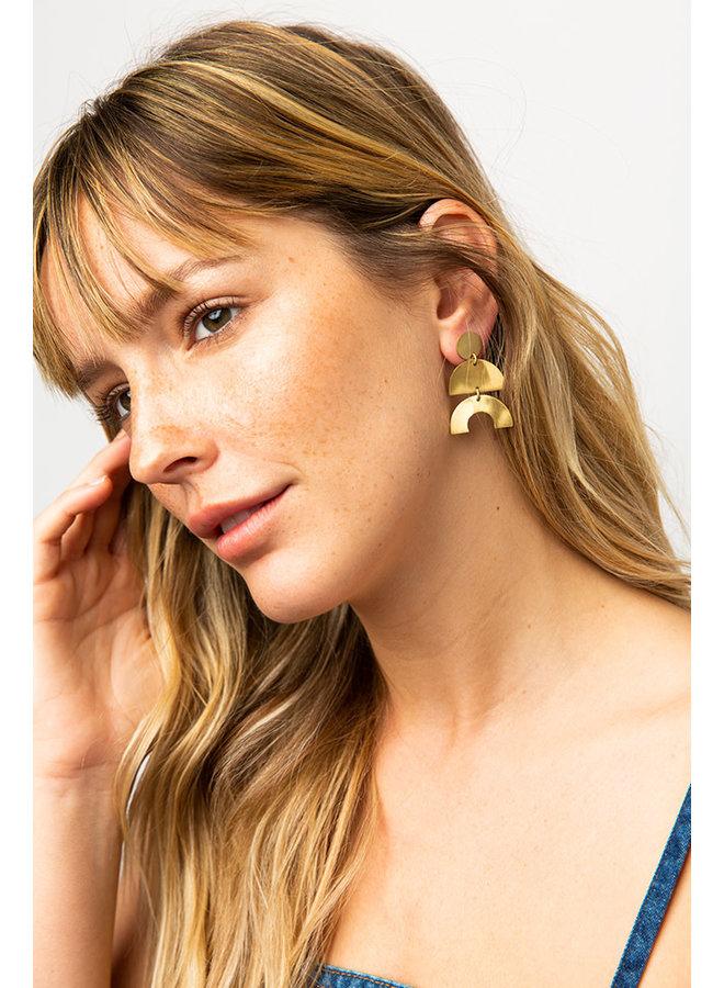 Matte Brass Triple Drop Half Circle Earrings