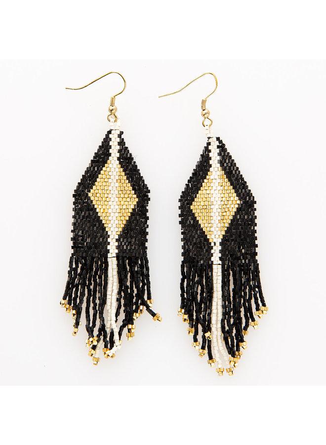 Black With Gold Diamond Fringe Earrings