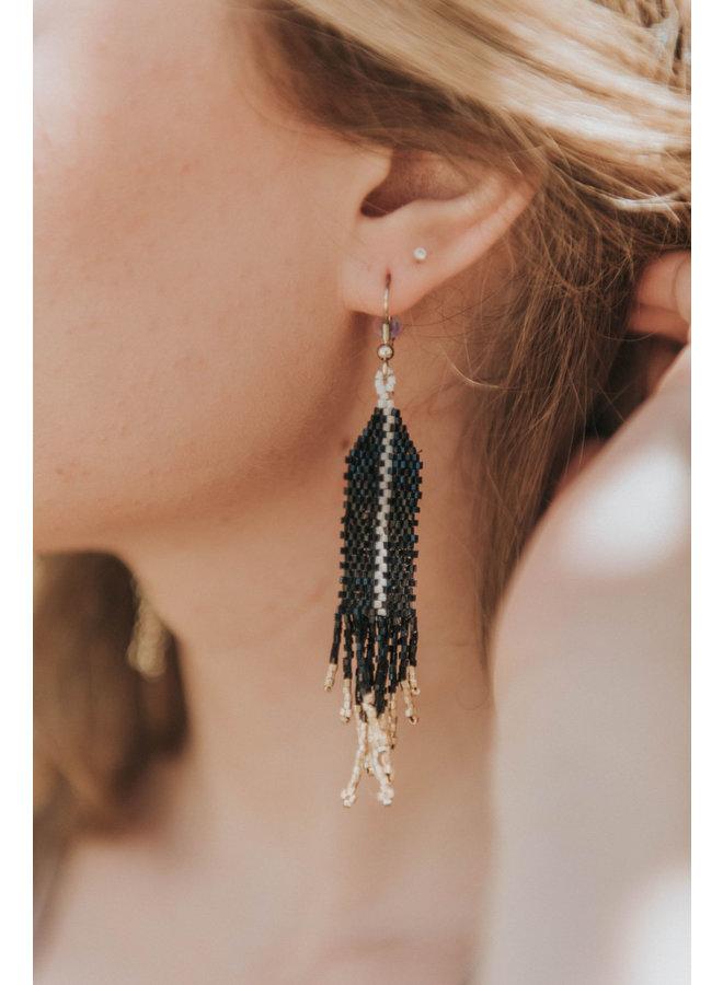 Small Beaded Black Earring With Single Ivory Stripe & Fringe