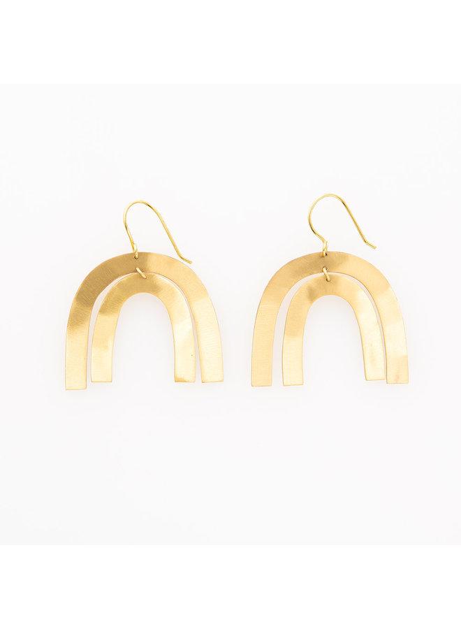 Matte Brass Rainbow Double Drop Earrings