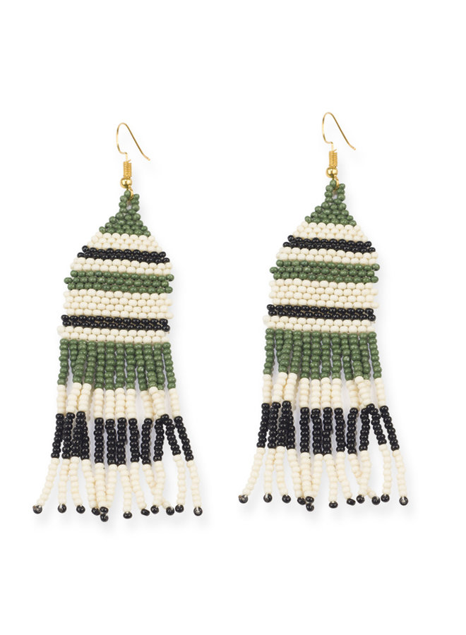 Short Beaded Stripe Earrings w/ Fringe - Green, Ivory, Black