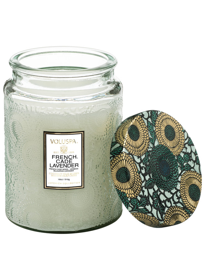 Large Glass Jar Candle, French Cade Lavender, 18oz