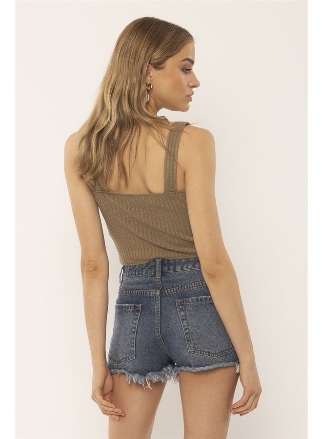 Ribbed Five Button Hutton Tank Crop Top - Olive Green