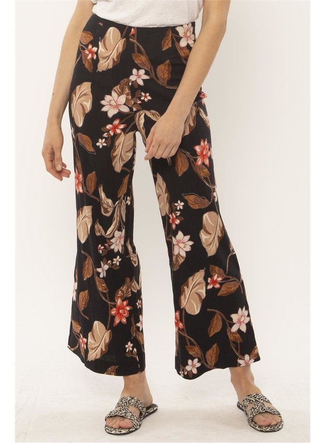 Black Wide Leg Pants W/ Pink And Brown Floral