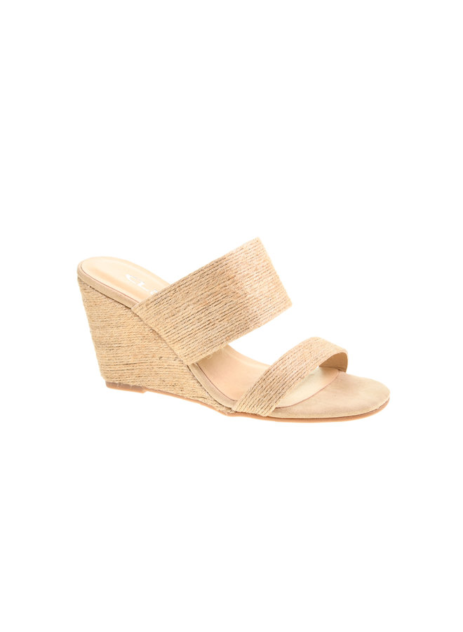 Natural Straw Two Strap Wedge - 5 Star