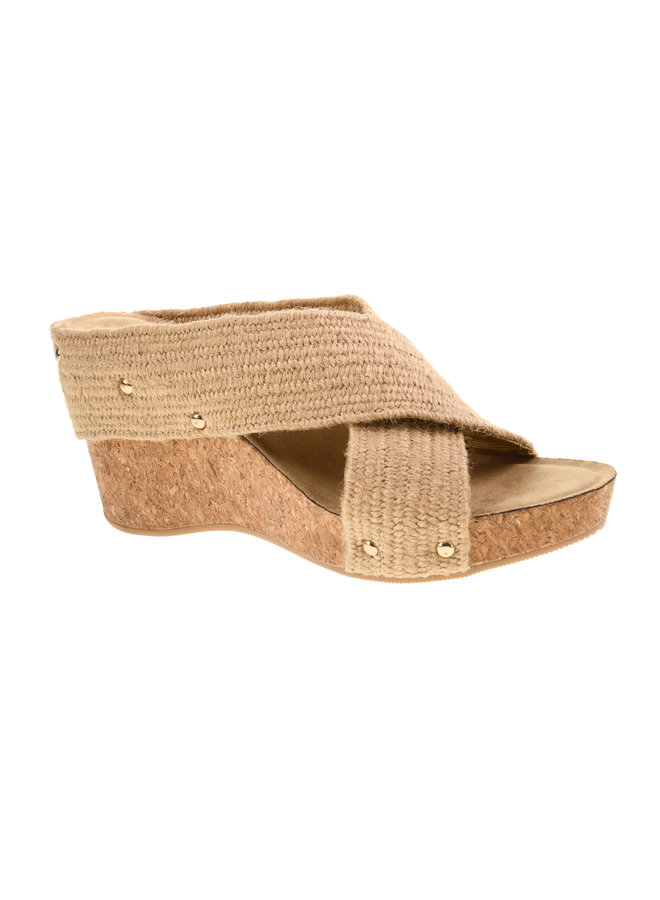 Straw Crossed Wedge w/ Gold Studs - Abloom