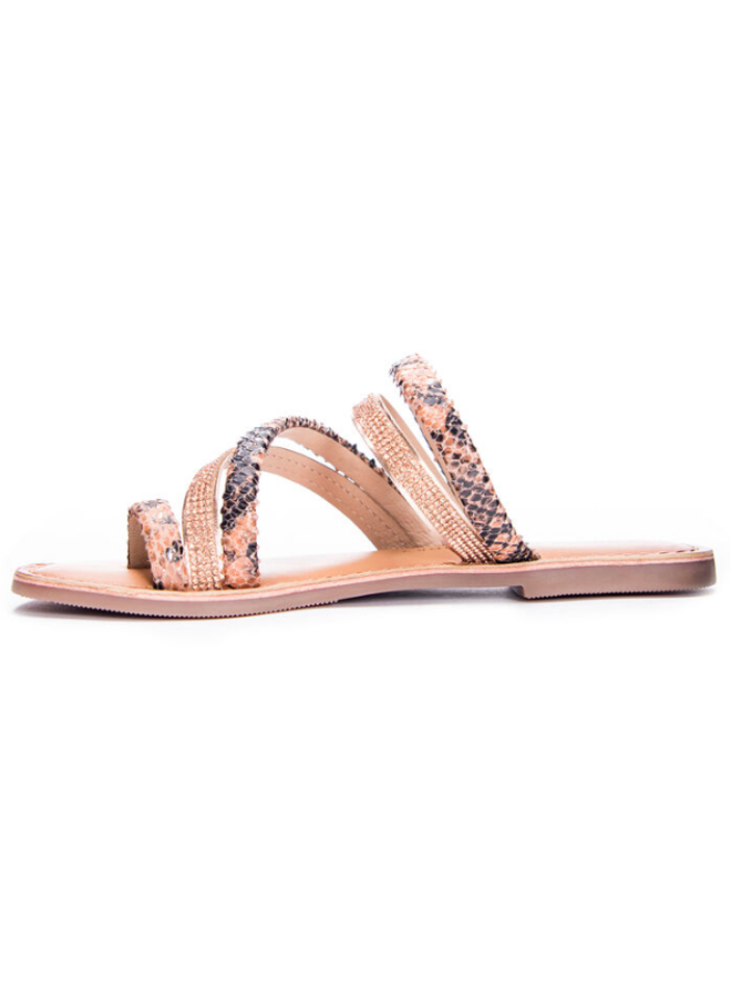 Blush And Rose Gold  Snakeskin Leather Sandals w/ Rhinestone - Solar