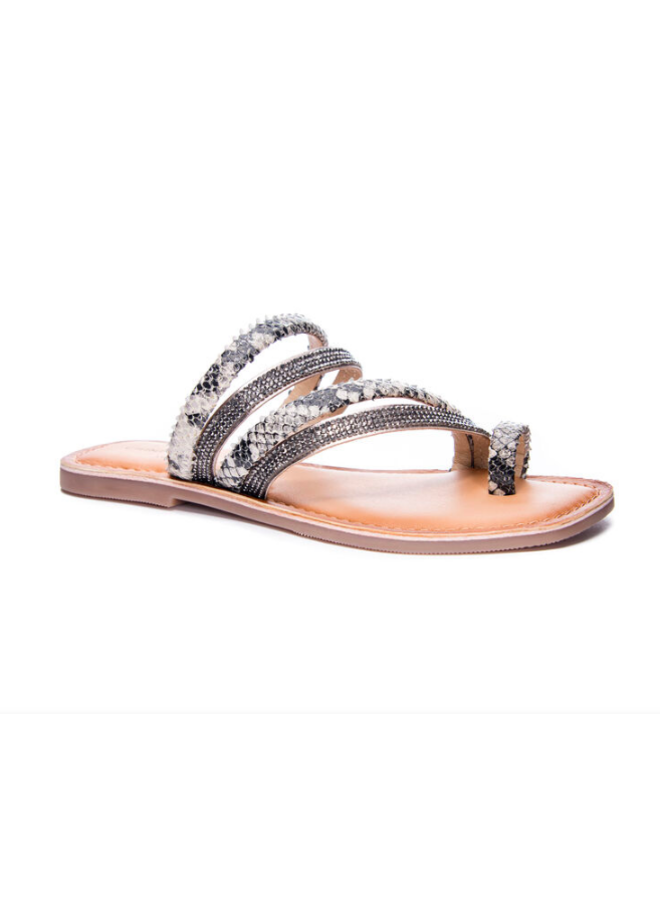 Black And White Snakeskin Leather Sandals w/ Rhinestone - Solar
