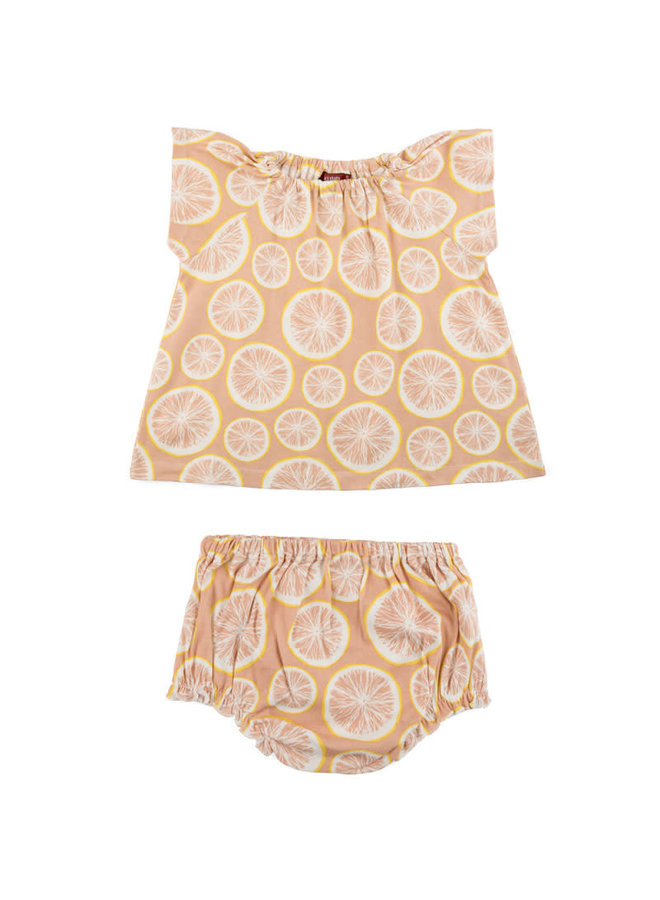 Organic Cotton Dress & Bloomer Set - Grapefruit
