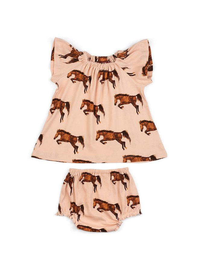 Organic Cotton Dress & Bloomer Set - Horses