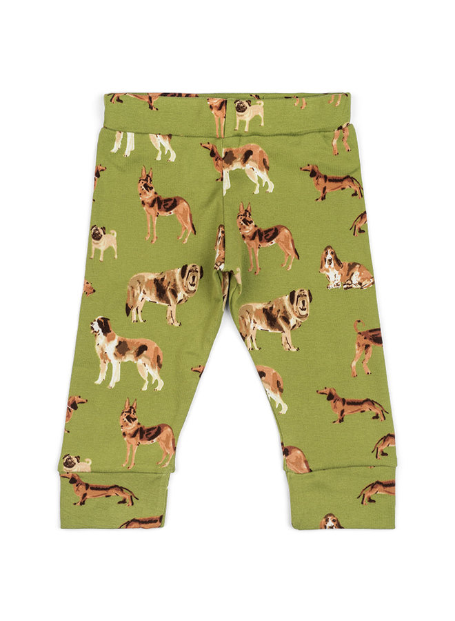 Organic Cotton Baby Leggings - Green Dog