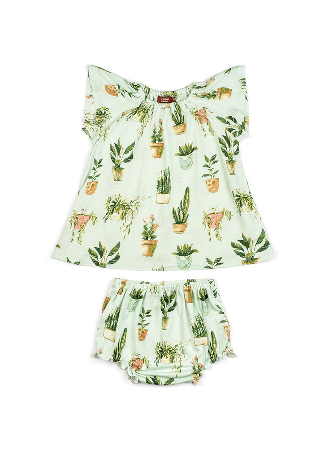 Organic Cotton Dress & Bloomer Set - Potted Plants