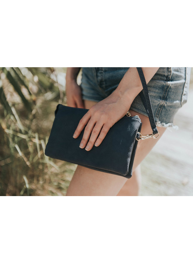 Convertible Cross Body Purse, Wristlet or Clutch - Navy