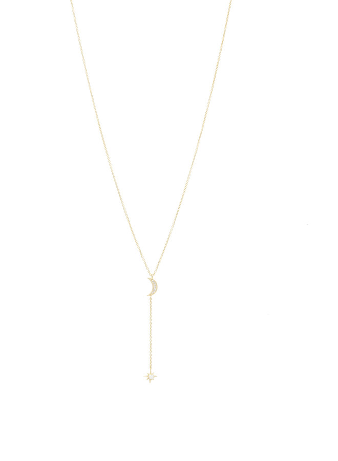 Luna Lariat Necklace With White Opalite