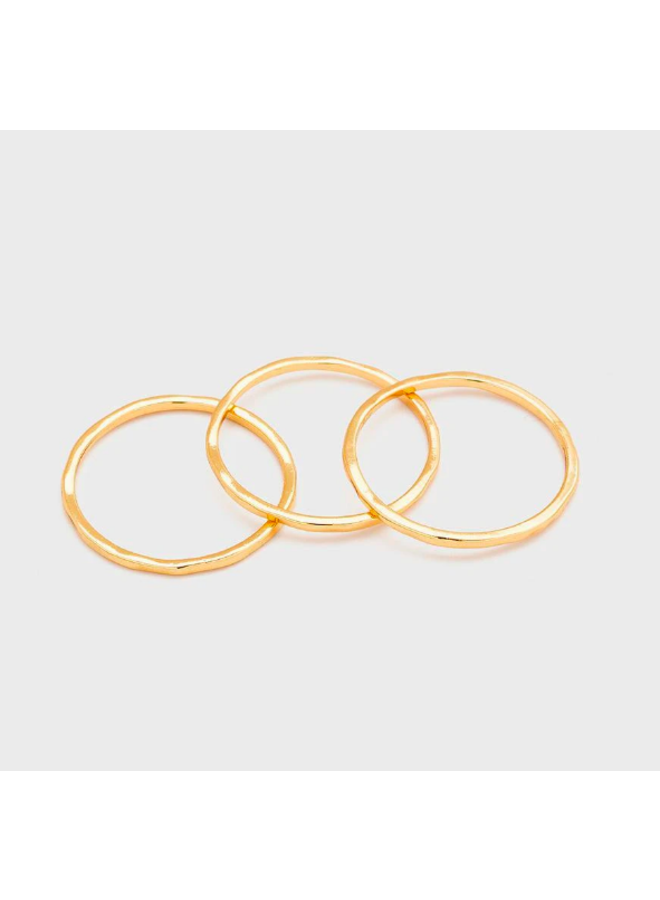 Set of 3 Gold Hammered Stacking G Rings