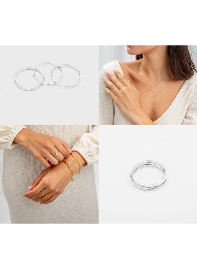 Set of 3 Silver Hammered Stacking G Rings