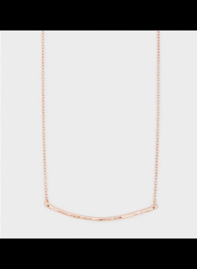 Rose Gold Hammered Bar Tanner Necklace